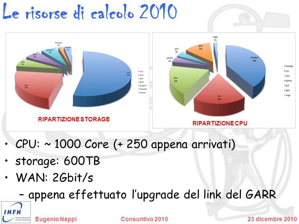 Le risorse di calcolo 2010 CPU: ~ 1000 Core (+ 250 appena arrivati)