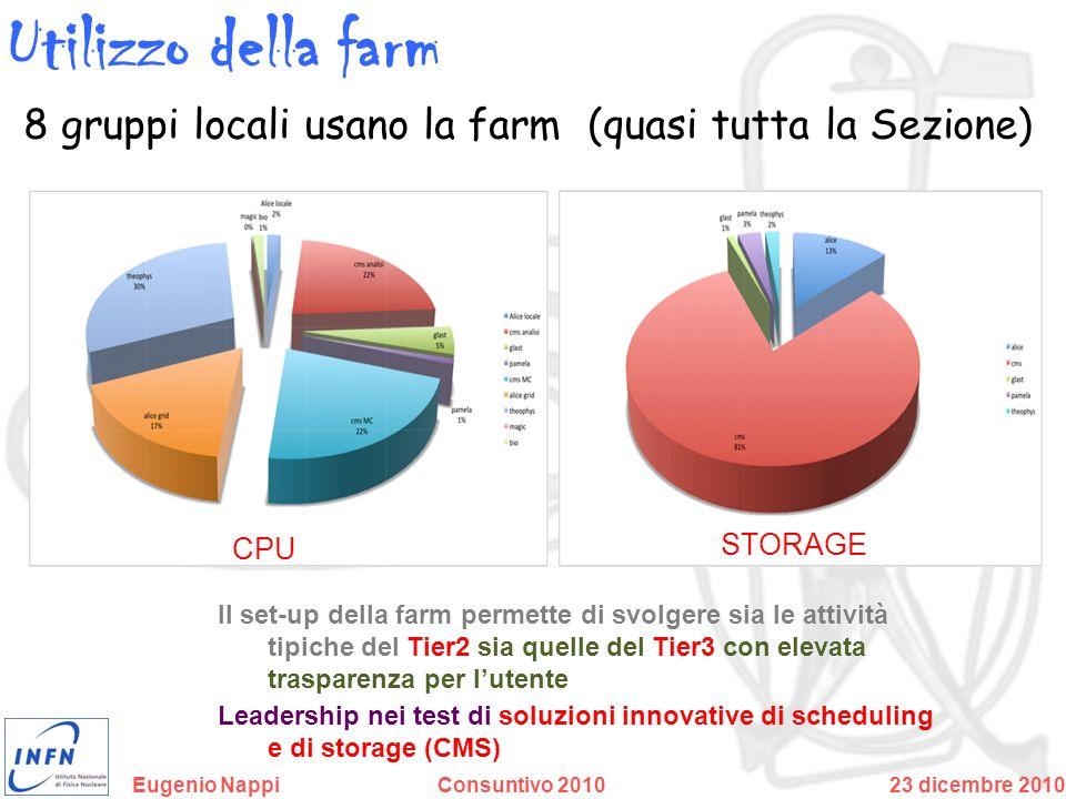 Utilizzo della farm 8 gruppi locali usano la farm (quasi tutta la Sezione) CPU. STORAGE.