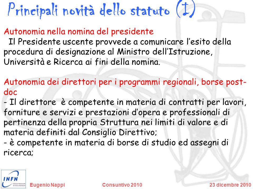 Principali novità dello statuto (I)