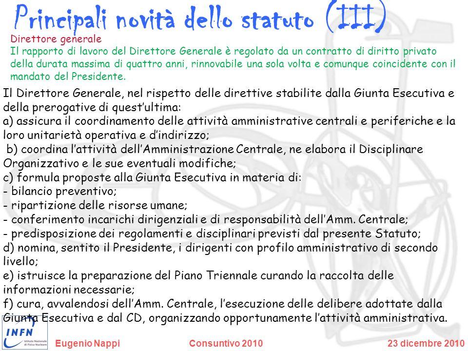 Principali novità dello statuto (III)