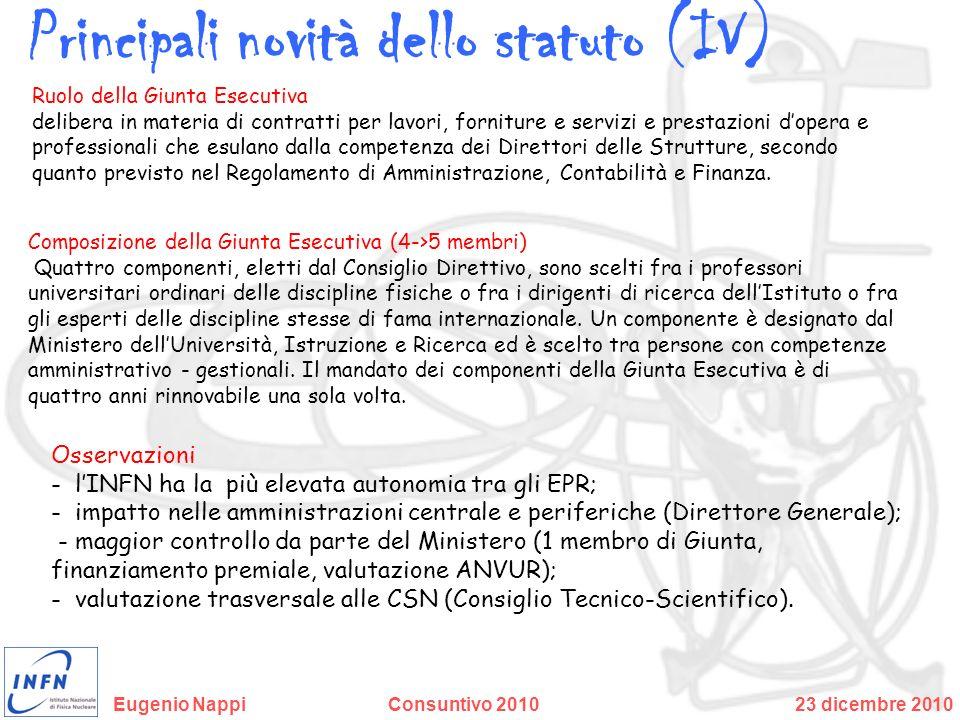 Principali novità dello statuto (IV)