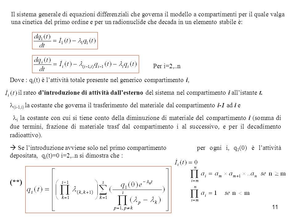 Il sistema generale di equazioni differenziali che governa il modello a compartimenti per il quale valga una cinetica del primo ordine e per un radionuclide che decada in un elemento stabile è: