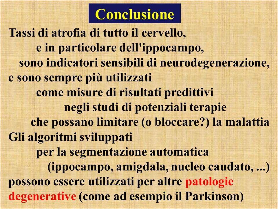 Conclusione Tassi di atrofia di tutto il cervello, e in particolare dell ippocampo,