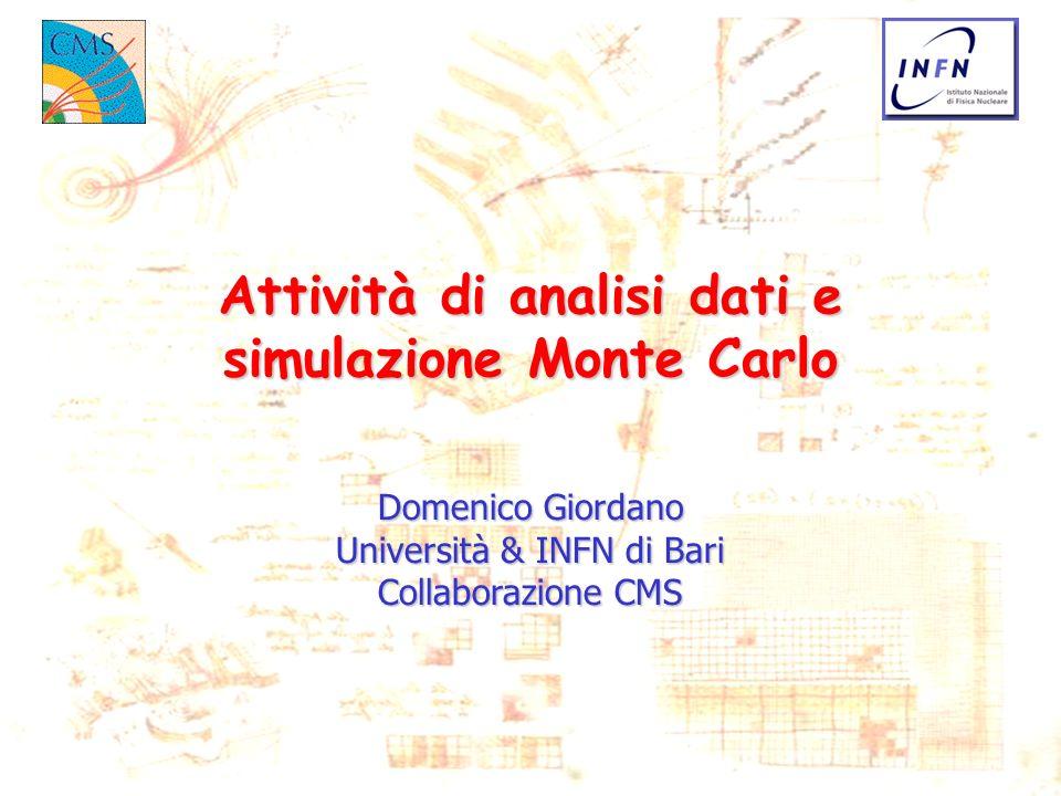 Attività di analisi dati e simulazione Monte Carlo
