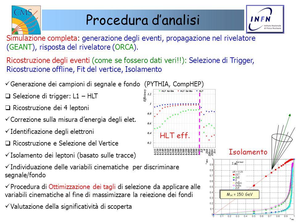 Procedura d'analisiSimulazione completa: generazione degli eventi, propagazione nel rivelatore (GEANT), risposta del rivelatore (ORCA).