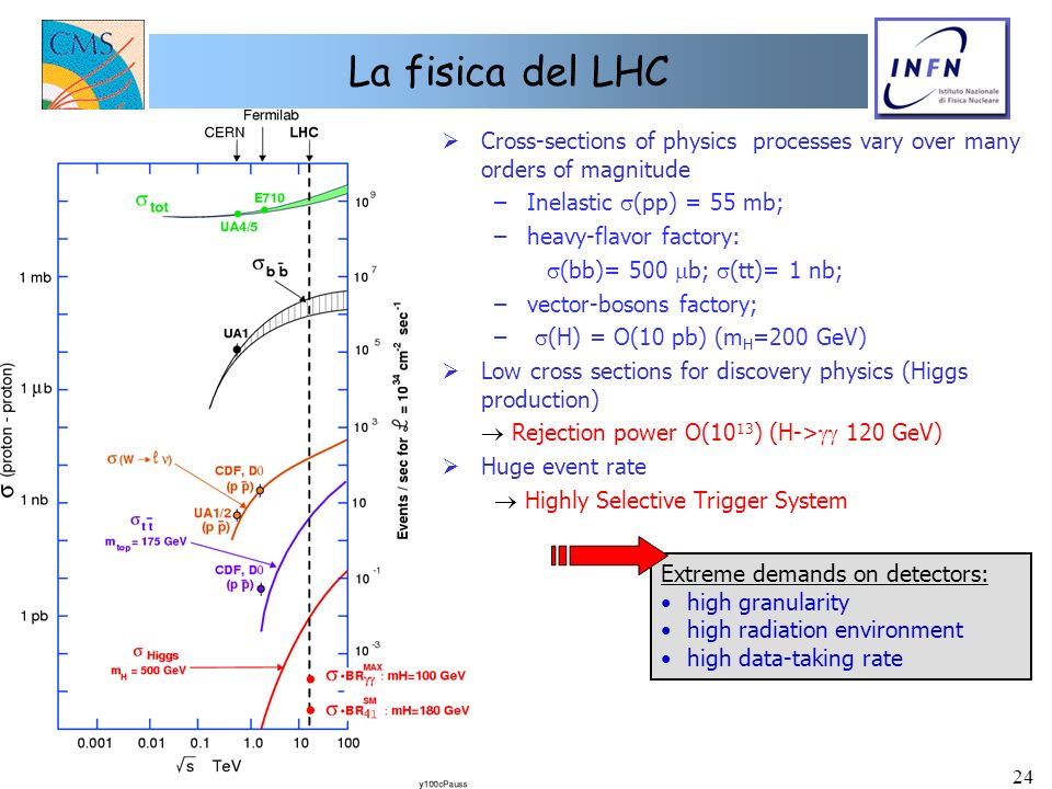 La fisica del LHC Cross-sections of physics processes vary over many orders of magnitude. Inelastic s(pp) = 55 mb;
