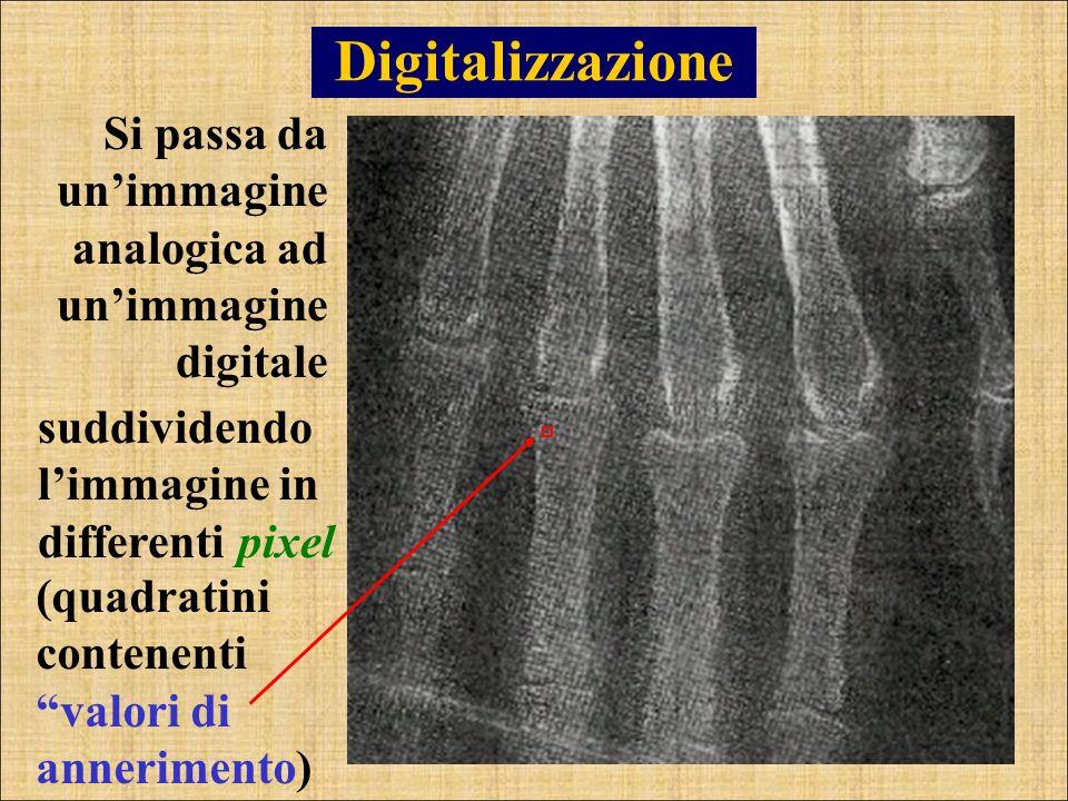 Digitalizzazione Si passa da un'immagine analogica ad un'immagine digitale. suddividendo l'immagine in differenti pixel.