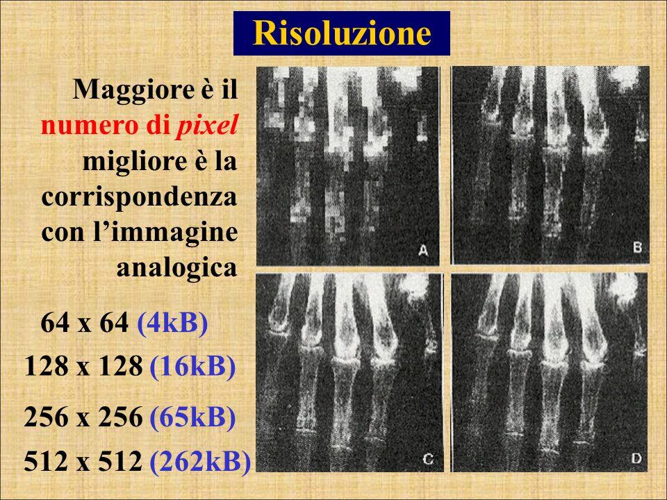 Risoluzione Maggiore è il numero di pixel migliore è la corrispondenza con l'immagine analogica. 128 x 128 (16kB)