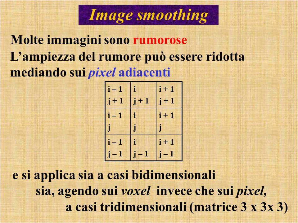 Image smoothing Molte immagini sono rumorose