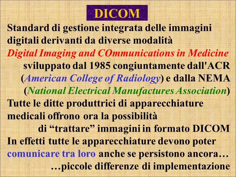 DICOM Standard di gestione integrata delle immagini digitali derivanti da diverse modalità. Digital Imaging and COmmunications in Medicine.