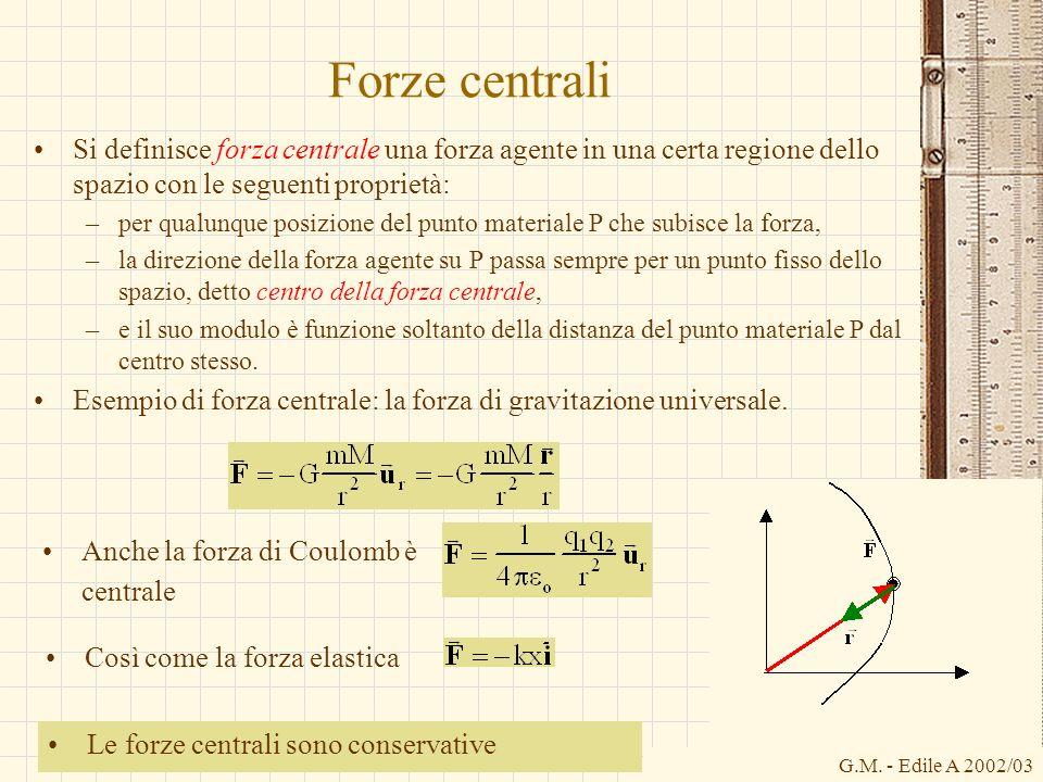 Forze centrali Si definisce forza centrale una forza agente in una certa regione dello spazio con le seguenti proprietà: