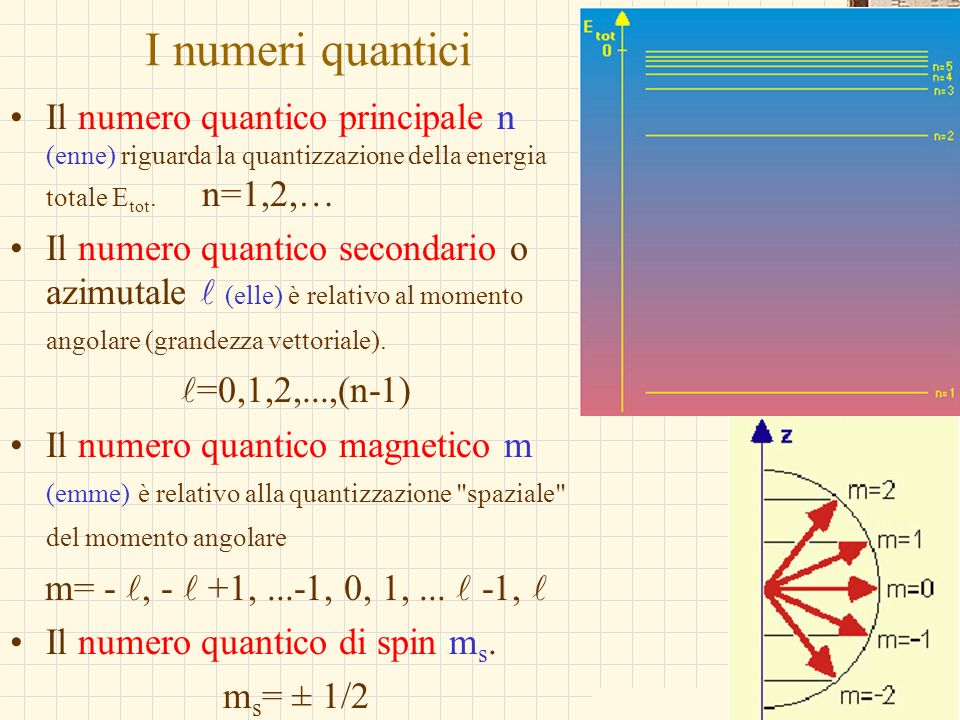 I numeri quanticiIl numero quantico principale n (enne) riguarda la quantizzazione della energia totale Etot. n=1,2,…