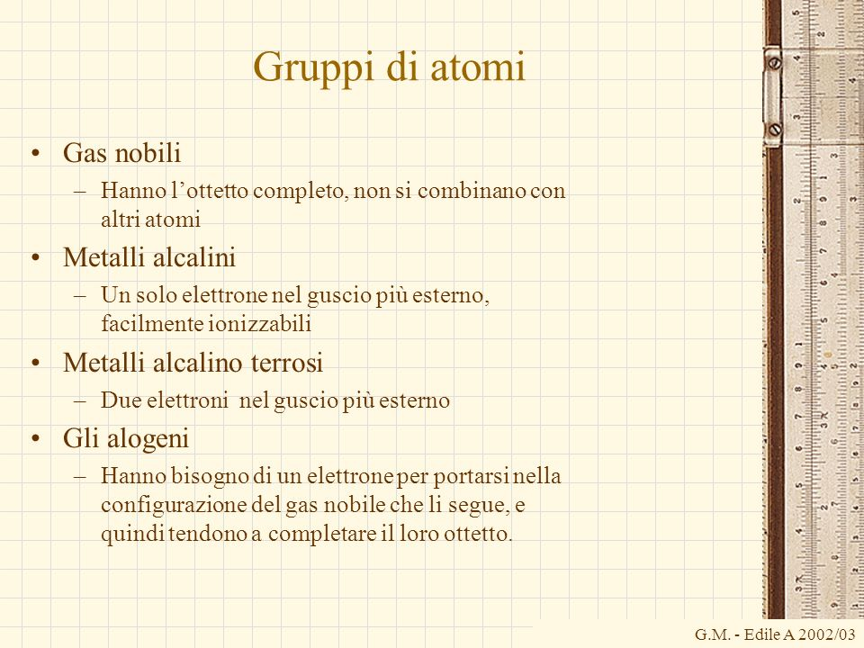 Gruppi di atomi Gas nobili Metalli alcalini Metalli alcalino terrosi
