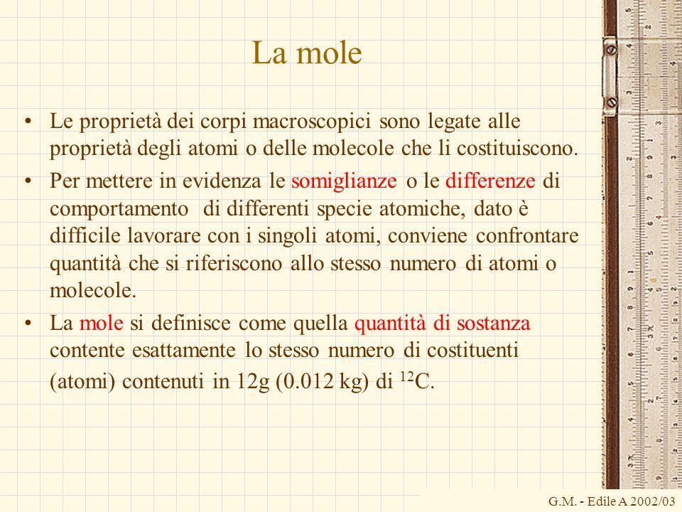 La moleLe proprietà dei corpi macroscopici sono legate alle proprietà degli atomi o delle molecole che li costituiscono.
