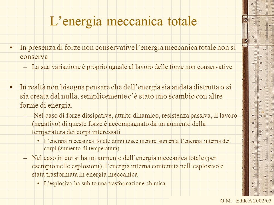 L'energia meccanica totale