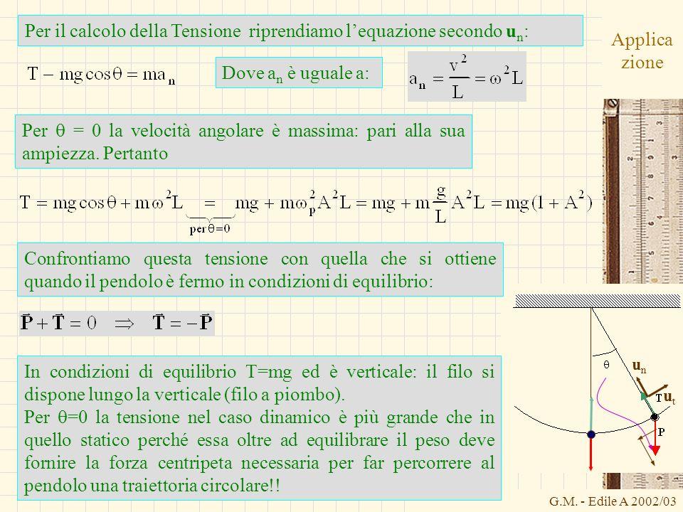 Per il calcolo della Tensione riprendiamo l'equazione secondo un:
