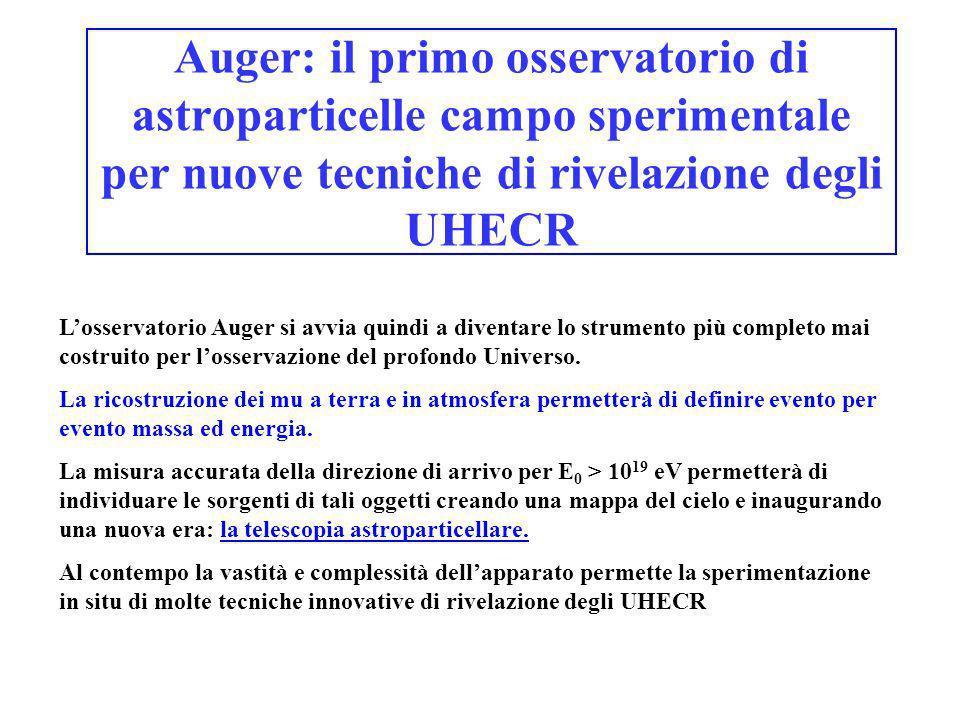 Auger: il primo osservatorio di astroparticelle campo sperimentale per nuove tecniche di rivelazione degli UHECR
