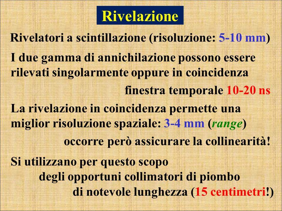 Rivelazione Rivelatori a scintillazione (risoluzione: 5-10 mm)