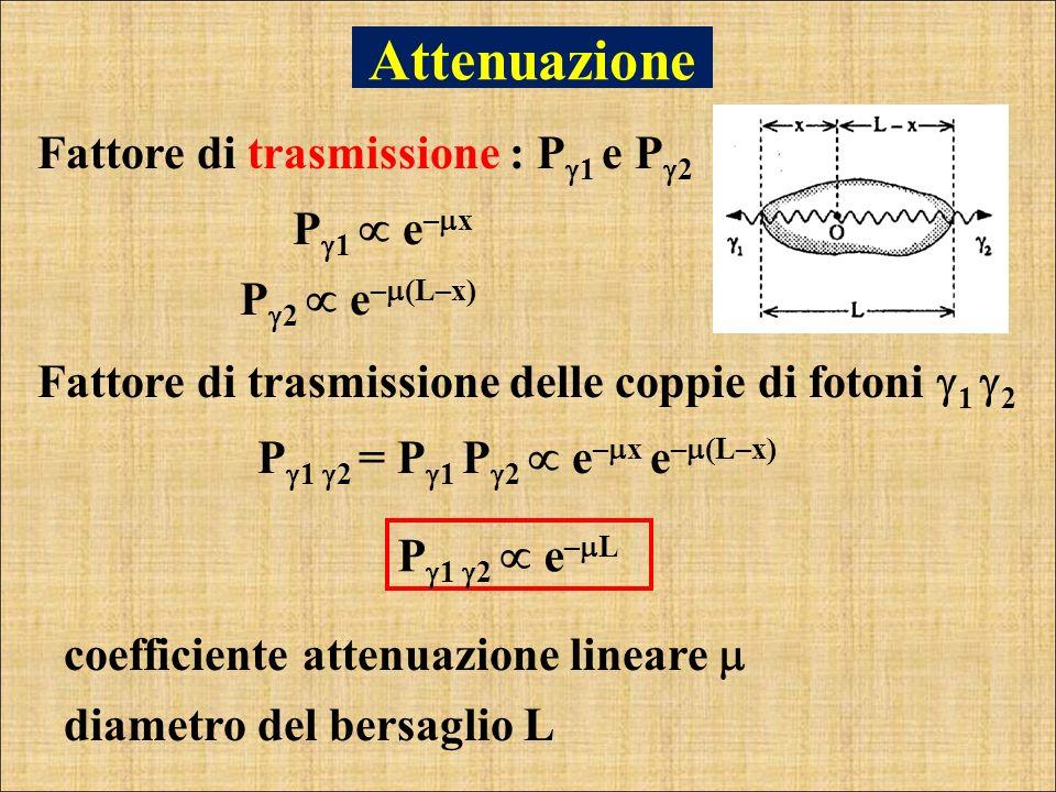 Attenuazione Fattore di trasmissione : P1 e P2 P1  e–x