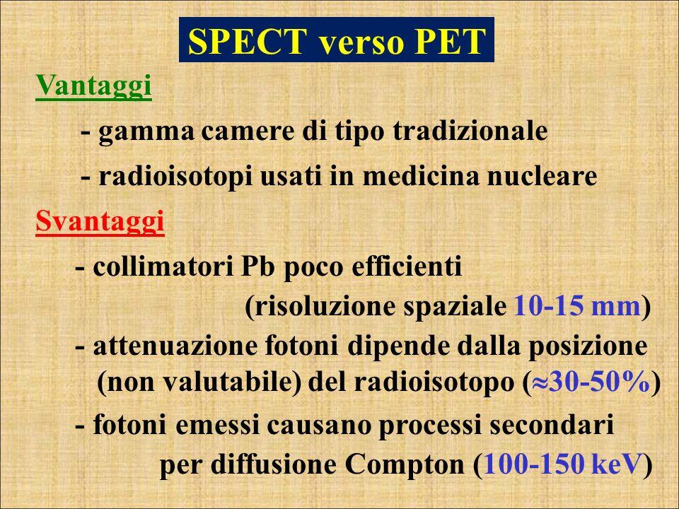 SPECT verso PET Vantaggi - gamma camere di tipo tradizionale