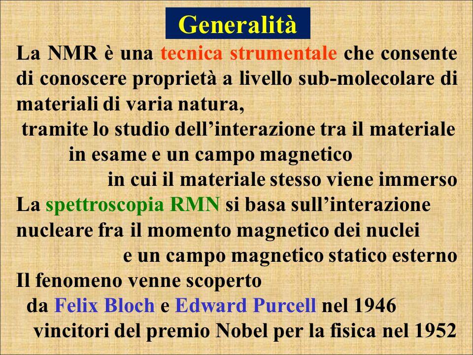 Generalità La NMR è una tecnica strumentale che consente di conoscere proprietà a livello sub-molecolare di materiali di varia natura,
