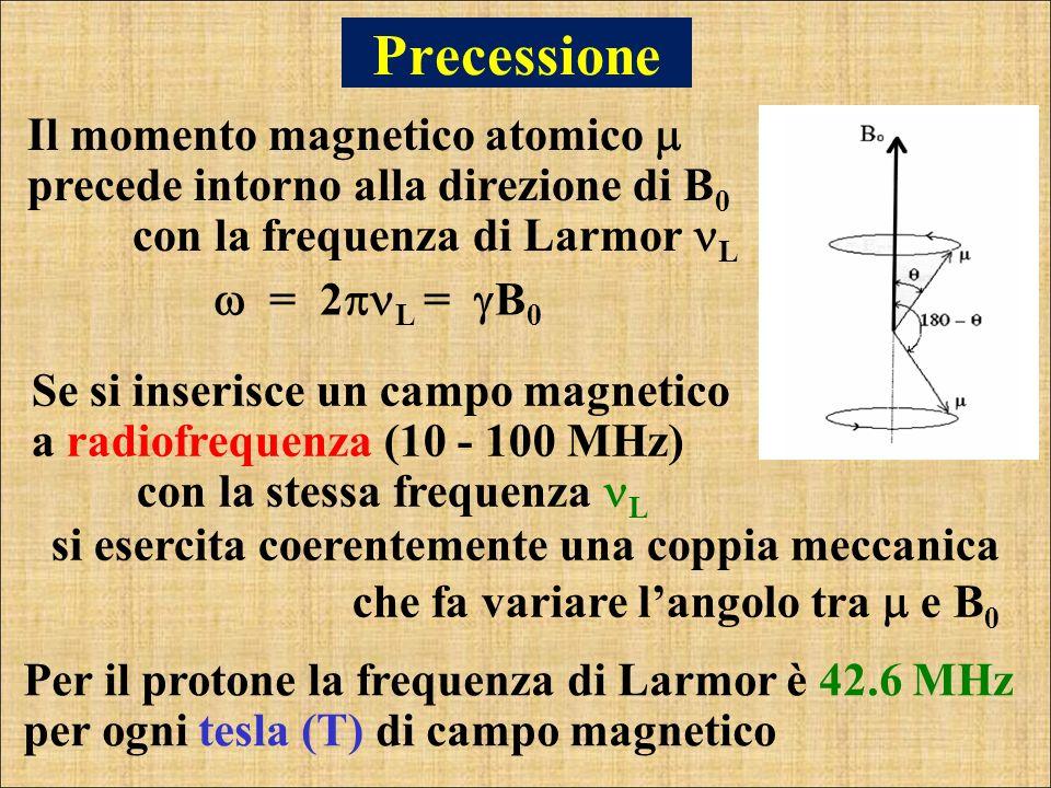 Precessione Il momento magnetico atomico  precede intorno alla direzione di B0 con la frequenza di Larmor L.