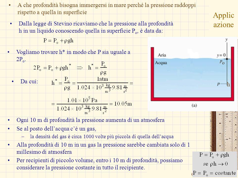 A che profondità bisogna immergersi in mare perché la pressione raddoppi rispetto a quella in superficie