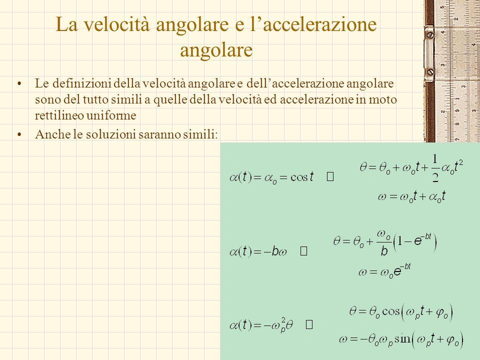 La velocità angolare e l'accelerazione angolare