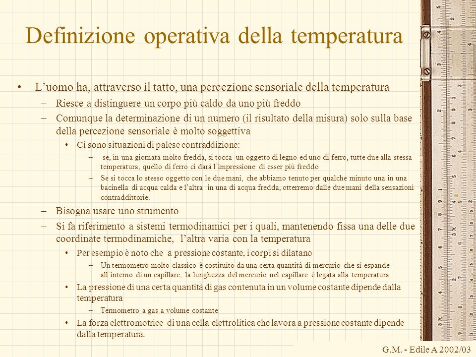Definizione operativa della temperatura