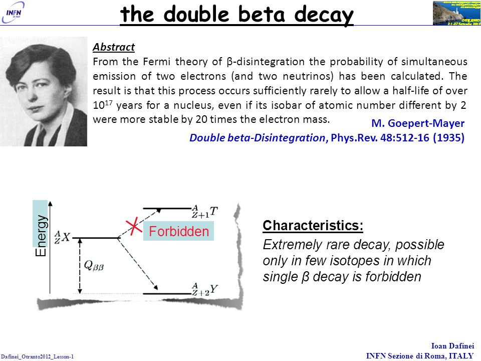 the double beta decay Characteristics: Energy Forbidden