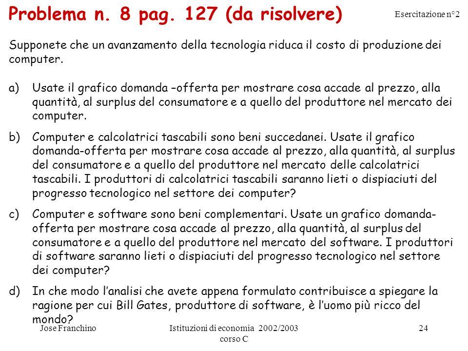 Problema n. 8 pag. 127 (da risolvere)