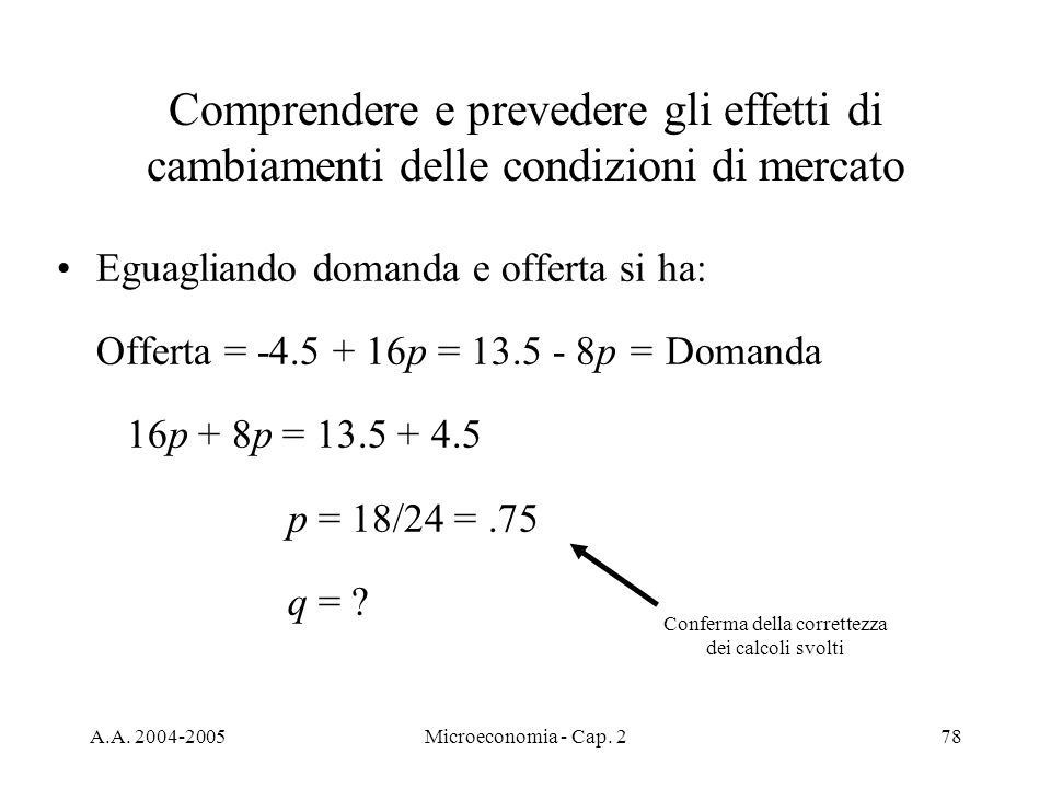 Conferma della correttezza dei calcoli svolti