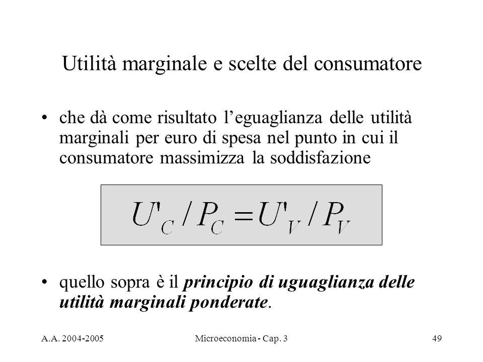 Utilità marginale e scelte del consumatore
