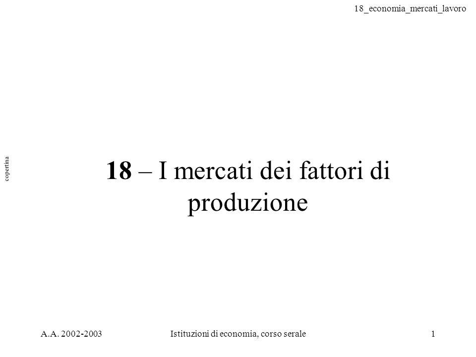 18 – I mercati dei fattori di produzione