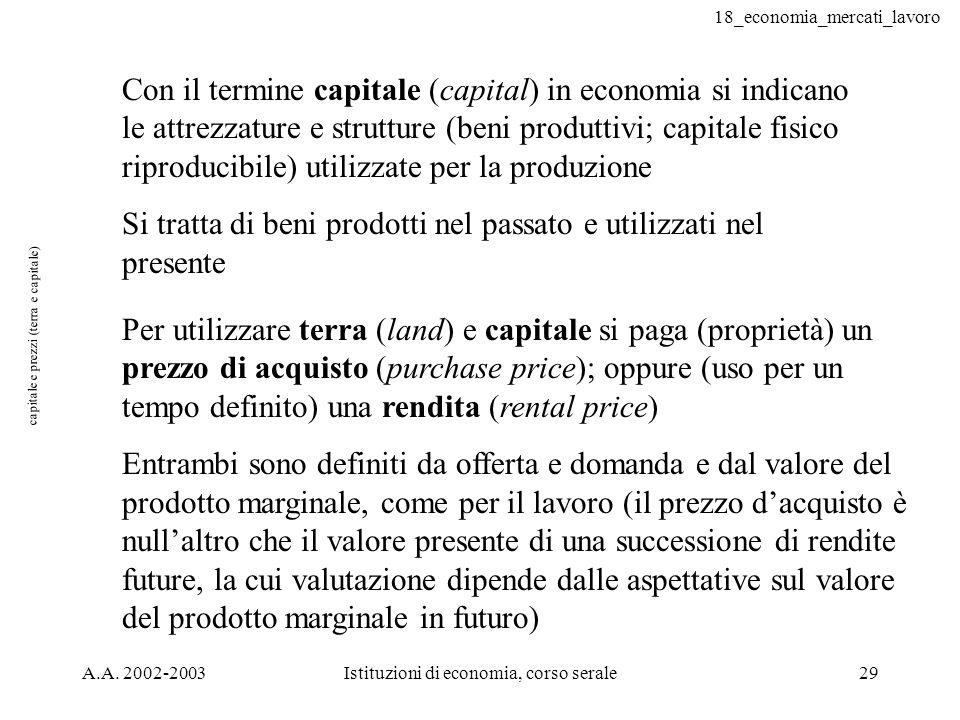 capitale e prezzi (terra e capitale)