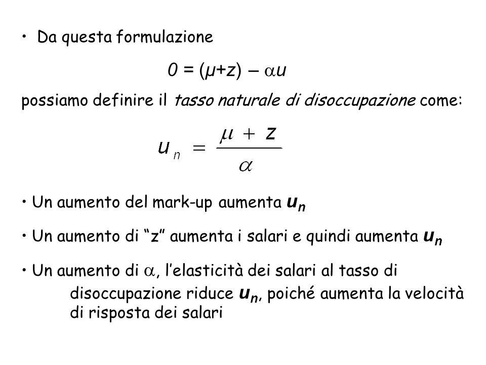 0 = (µ+z) – u Da questa formulazione