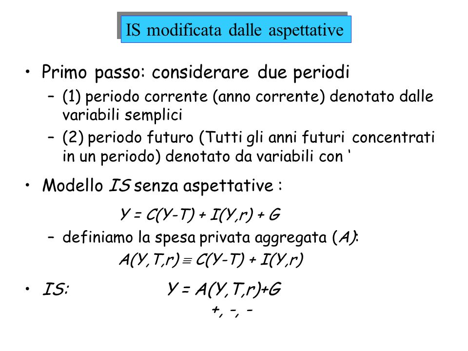 IS modificata dalle aspettative