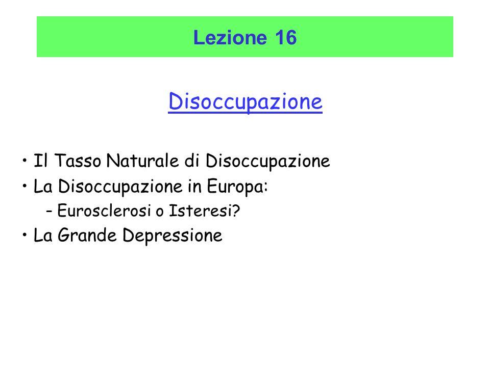 Disoccupazione Lezione 16 Il Tasso Naturale di Disoccupazione
