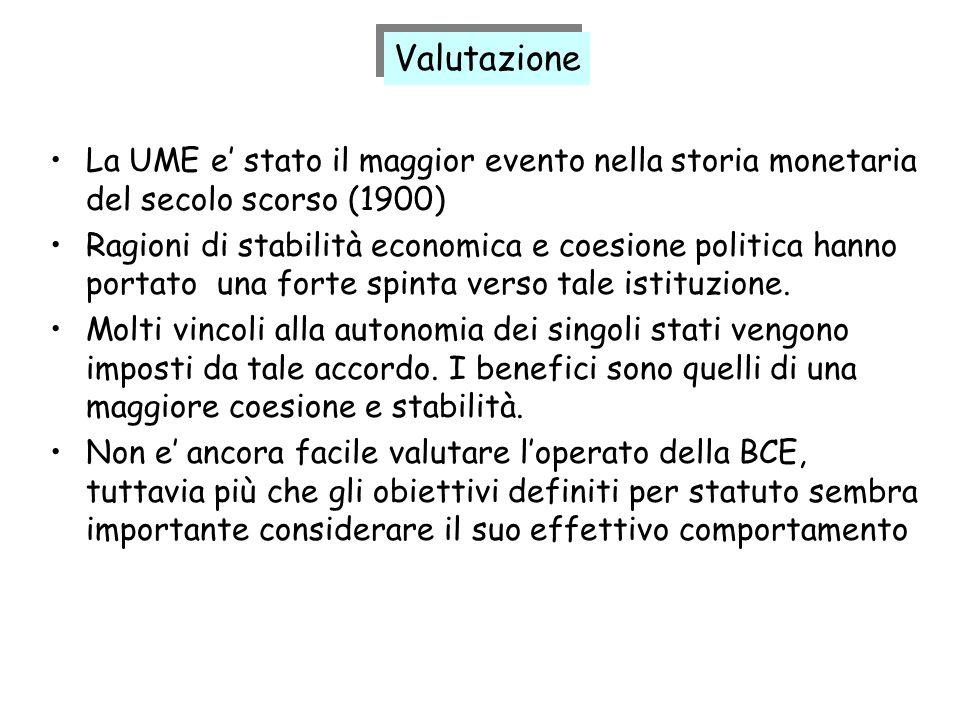 Valutazione La UME e' stato il maggior evento nella storia monetaria del secolo scorso (1900)