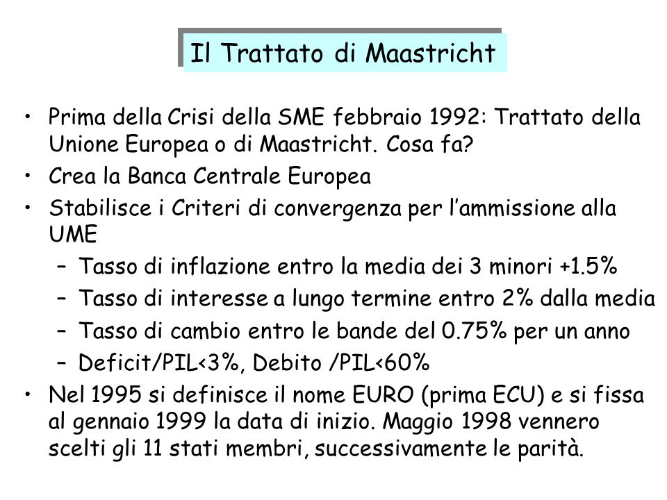Il Trattato di Maastricht