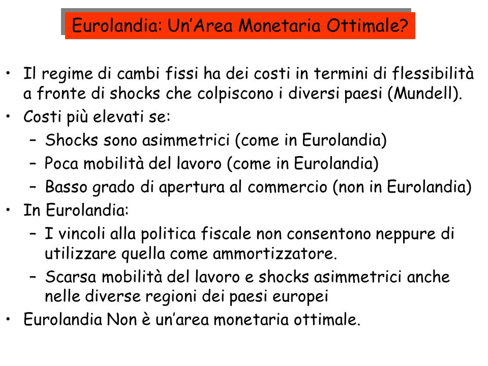 Eurolandia: Un'Area Monetaria Ottimale