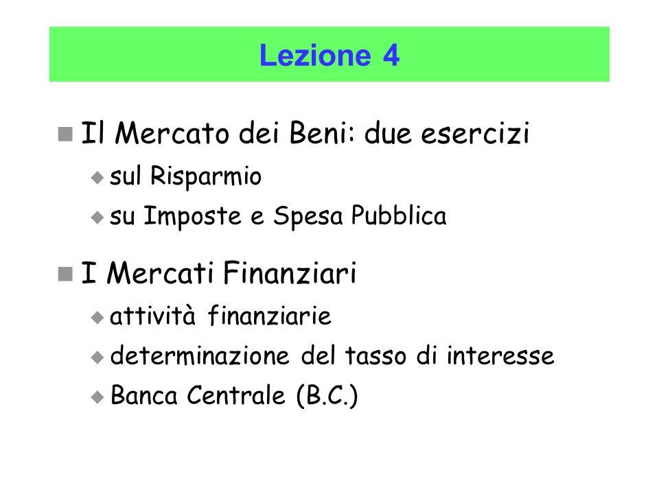 Lezione 4 Il Mercato dei Beni: due esercizi I Mercati Finanziari
