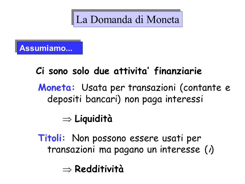 La Domanda di Moneta Ci sono solo due attivita' finanziarie