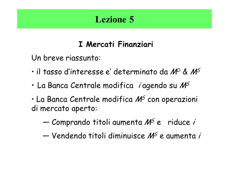 Lezione 5 I Mercati Finanziari Un breve riassunto: