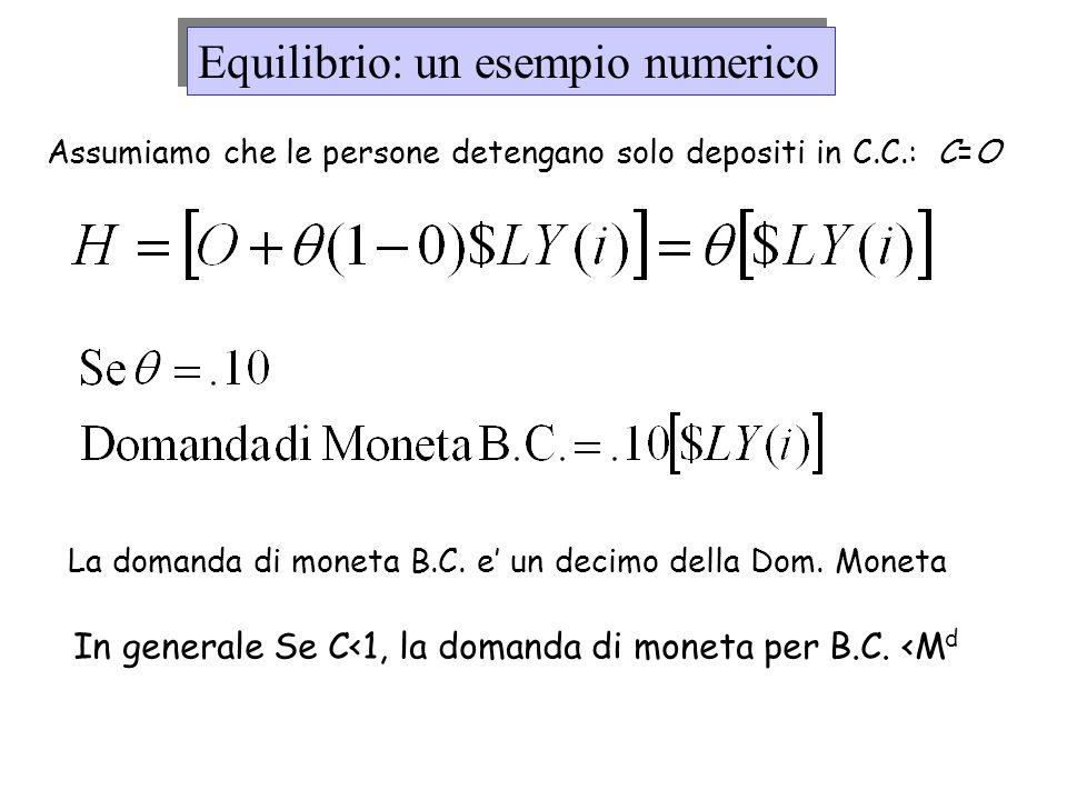 Equilibrio: un esempio numerico