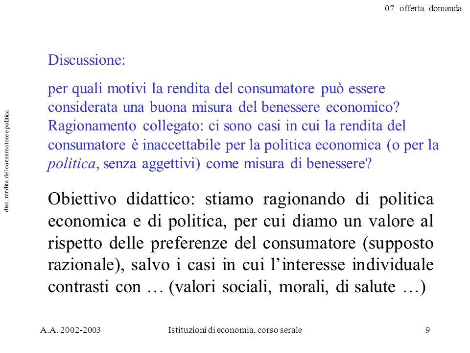 disc. rendita del consumatore e politica