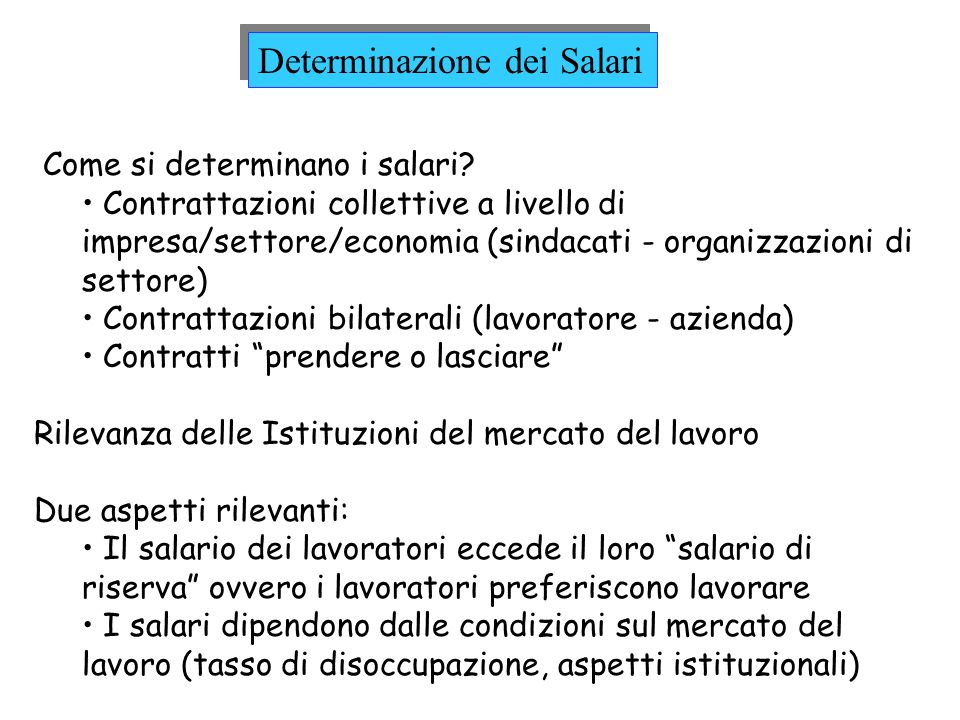 Determinazione dei Salari