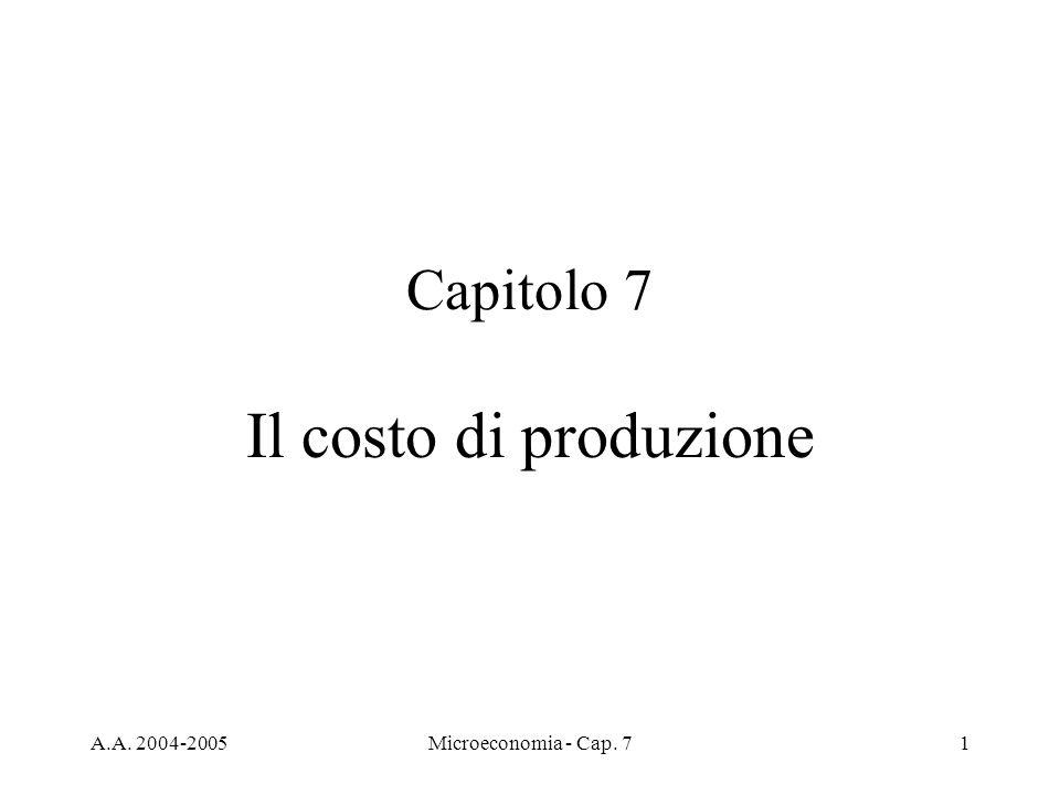 Il costo di produzione Capitolo 7 A.A. 2004-2005
