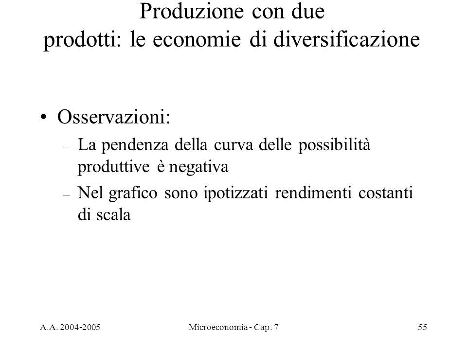 Produzione con due prodotti: le economie di diversificazione