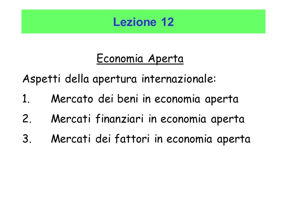 Lezione 12 Economia Aperta Economia Aperta